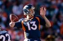 Broncos quarterback Trevor Siemian has been carted back to the locker room with a shoulder injury