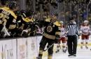 Bergeron scores 4 goals for Bruins in 7-1 win over Carolina