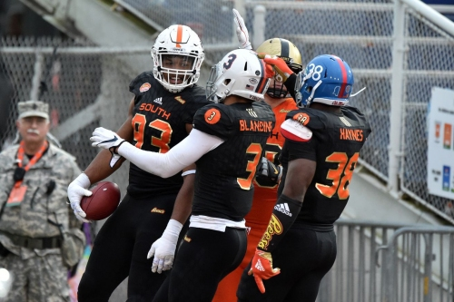 VIDEO: Marquis Haynes' sack and strip in the Senior Bowl ends with South team TD