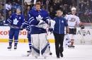 Leafs goaltender Frederik Andersen returns after taking...