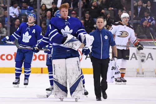 Leafs goaltender Frederik Andersen returns after taking...