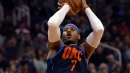 Carmelo Anthony of Oklahoma City Thunder doesn't return after spraining right ankle