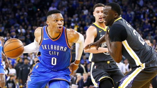 NBA -- Russell Westbrook sets tone in Oklahoma City Thunder's rout of Golden State Warriors