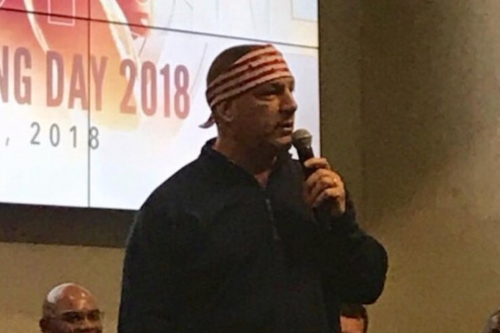 Phil Longo wore a bandana to welcome Bret Michaels to the 2018 class