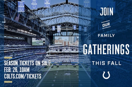 Colts Season Tickets On Sale February 26 At 10 A.M.
