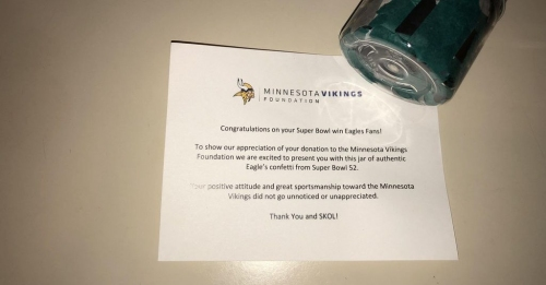 Eagles fan receives Super Bowl LII confetti after making donation to Minnesota Vikings Foundation