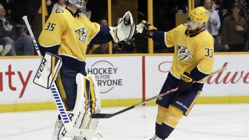 Rinne earns 300th win as Predators rout Sharks 7-1