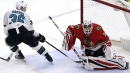 Berube makes 42 saves, Blackhawks beat Sharks