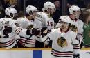 Chicago Blackhawks' Hinostroza reacts to Hartman trade