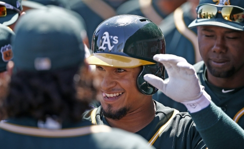 Two triples for A's Franklin Barreto on his birthday