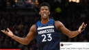 Timberwolves' Jimmy Butler erupts after Jeff Teague throws Ricky Rubio into crowd