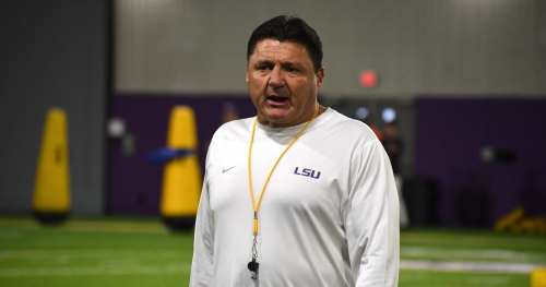 What LSU football coach Ed Orgeron said after practice Thursday