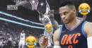 Video: Russell Westbrook almost dunks on Aron Baynes who was tying his shoes