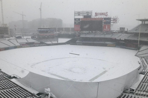 Here's Nationals Park completely covered in snow...