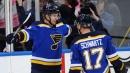 Schwartz scores twice, Blues beat Bruins in OT