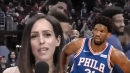 Video: 76ers players hilariously videobomb courtside reporter