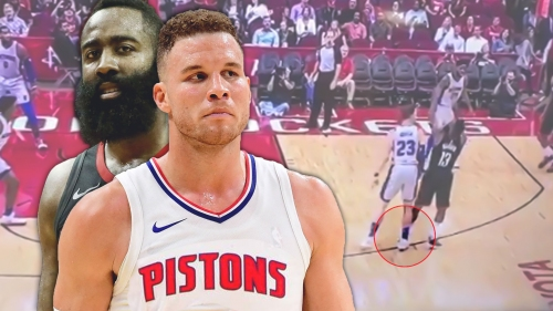 Video: Blake Griffin appears to do a Zaza slide on James Harden's shot
