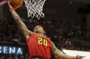 John Collins re-injures left ankle, exits Warriors game