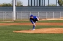 Tyler Chatwood throws in an intrasquad sim game in Mesa