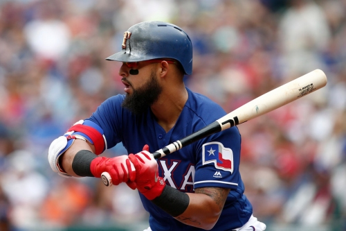 Watch: Rougned Odor grounder takes painful-looking bounce off A's pitcher for Rangers' first run
