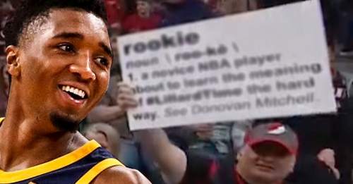 Blazers fan trolls Donovan Mitchell with savage definition of 'rookie'