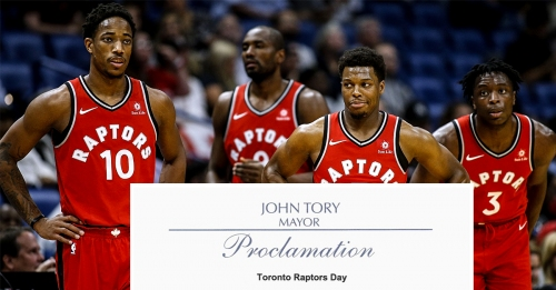 Mayor announces April 14th will be Toronto Raptors day