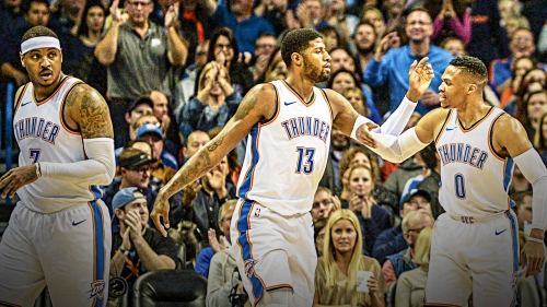 "Carmelo Anthony, Russell Westbrook react to ""Playoff P"" nickname for Paul George"