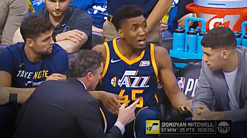 Video: Donovan Mitchell seen refusing to be benched despite hurting foot