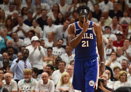 Heat's Justise Winslow stepped on Joel Embiid's protective mask in Game 3