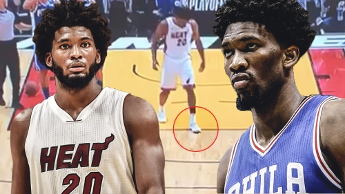 Heat's Justise Winslow steps on Sixers' Joel Embiid's mask