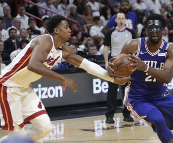 Embiid scores 23, 76ers top Heat 128-108 for 2-1 series lead