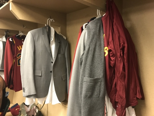 All Cavaliers wore same Thom Browne suit tonight, from LeBron James
