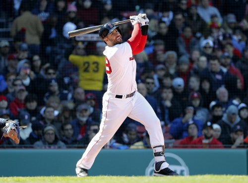 J.D. Martinez not in Boston Red Sox lineup vs. Athletics; Mitch Moreland (2 HRs vs. Kendall Graveman) at first base