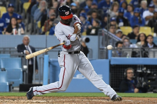 Nationals' lineup for 2nd of 3 with the Dodgers + Davey Martinez on bats heating up...
