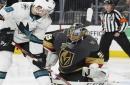 Fleury's 3rd shutout of playoffs helps Vegas beat Sharks 7-0