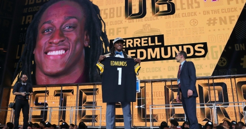 Terrell Edmunds was mid-bathroom break when Steelers made call
