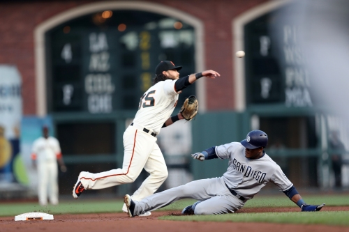Giants fall to Padres in ninth on Hosmer homer run off Strickland