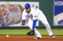 Mike Moustakas to make first career start at first base