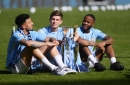 What Man City's three England players said to each other after lifting Premier League trophy