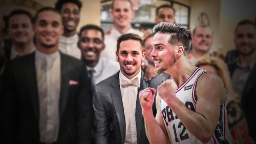 T.J. McConnell wears his wedding suit to exit interviews