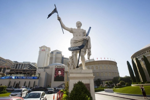 Knights Nuggets: Las Vegas' Julius Caesar statue is holding a Golden Knights flag, hockey stick