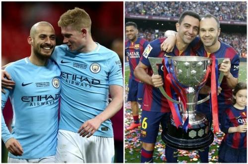 Pep Guardiola compares his Barcelona midfield stars to Man City pair Kevin De Bruyne and David Silva