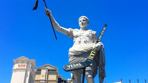 Caesars Palace statue gets decked out in Golden Knights gear