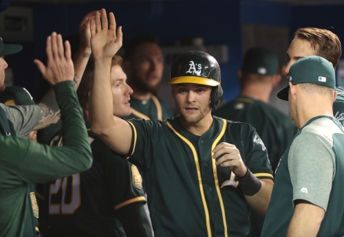 Chad Pinder's slam lifts A's to third straight win over Blue Jays