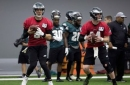 Wentz back on the practice field less than six months after knee surgery