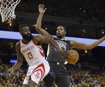 James Harden scores 30, Rockets even series at 2 games apiece