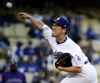 Maeda allows 2 hits in 6 2/3 innings, Dodgers beat Rox 3-0