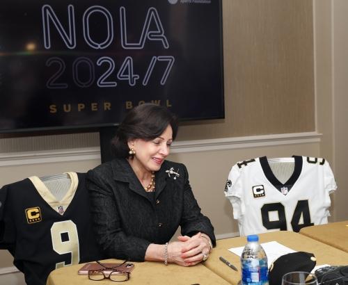 John Bel Edwards congratulates Gayle Benson, Saints on Super Bowl bid