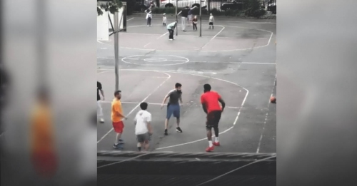 Joel Embiid throws ball off civilian's face, finishes with windmill dunk on him