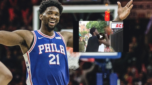 Video: Joel Embiid hits shot over a fence